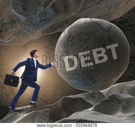 Businessman in high interest debt business concept
