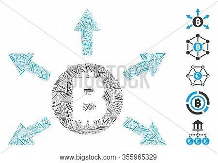 Dash Mosaic Based On Bitcoin Emission Icon. Mosaic Vector Bitcoin Emission Is Designed With Randomiz