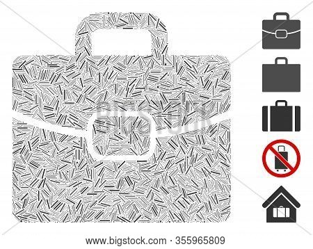 Hatch Mosaic Based On Briefcase Icon. Mosaic Vector Briefcase Is Formed With Randomized Hatch Elemen