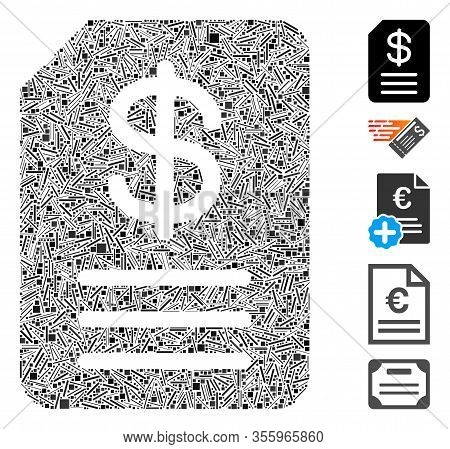 Line Mosaic Based On Budget Invoice Icon. Mosaic Vector Budget Invoice Is Composed With Randomized L