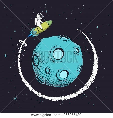 Astronaut Flying Around Orbit Of Planet.cute Baby Spaceman Playing In Space.mission To Explore The M