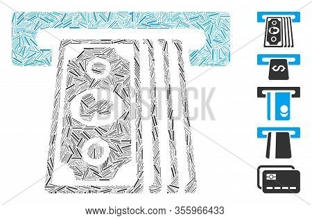 Line Collage Based On Cashpoint Terminal Icon. Mosaic Vector Cashpoint Terminal Is Composed With Ran