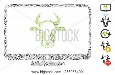 Hatch Mosaic Based On Cattle Monitor Icon. Mosaic Vector Cattle Monitor Is Composed With Random Hatc