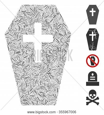 Line Mosaic Based On Coffin Icon. Mosaic Vector Coffin Is Designed With Randomized Line Dots. Bonus