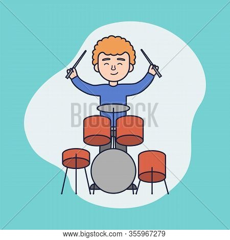 Concept Of Music Concert Or Lesson. Boy Play Drums. Cheerful Man Is Playing The Percussion. Young Mu