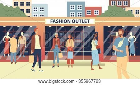 Concept Of Fashion Outlet, Mass Market Apparel Store. Fashion People, Buyers Or Customers Walking Ci