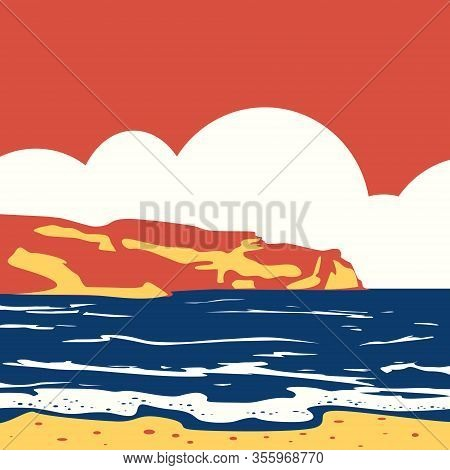 Tropical Ocean Sea Landscape With Mountaince Surf Retro Vintage Pop Art. Seascape Solid Colors. Tour