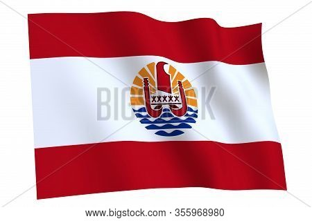 French Polynesia Flag, 3d Render. Flag Of French Polynesia Waving In The Wind, Isolated On White Bac