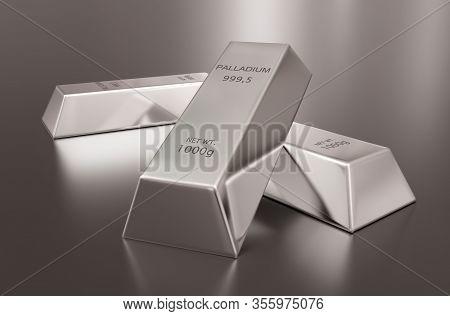 Three Shiny Palladium Ingots Or Bars Over Reflective Grey Background - Precious Metal Or Money Inves