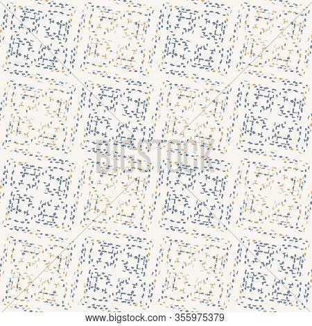 Grey French Linen Vector Broken Mosaic Grid Texture Seamless Pattern. Brush Stroke Grunge Abstract B