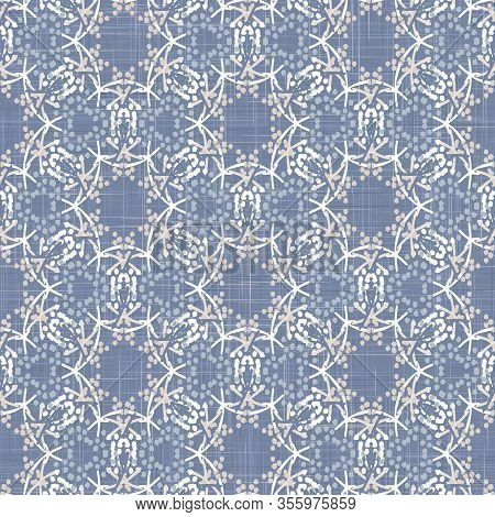 French Shabby Chic Tiny Seed Damask Vector Background. Dainty Flower Mosaic Linen Woven Seamless Pat
