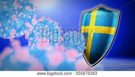 Fight Of The Sweden With Coronavirus - 3d Render
