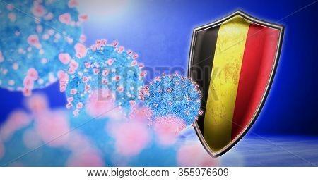 Fight Of The Belgium With Coronavirus - 3d Render