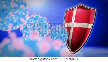 Fight Of The Denmark With Coronavirus - 3d Render