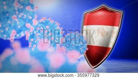 Fight Of The Austria With Coronavirus - 3d Render
