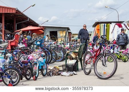 Subotica, Serbia - April 4, 2015: Man Selling New Bicycles On A Bike Shop On The Subotica Market, Al