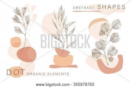Abstract Poster Background Minimal Shapes, Half Tone Leaves Dot Design Elements, Leaf. Vector Art Pr