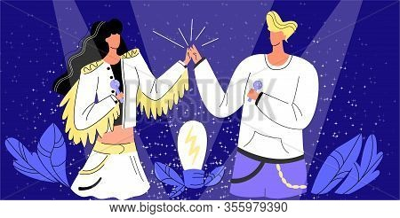 Vector Flat With Singers, Male And Female Artists Who Give Fives On Stage. Burning Lamp As Symbol Of