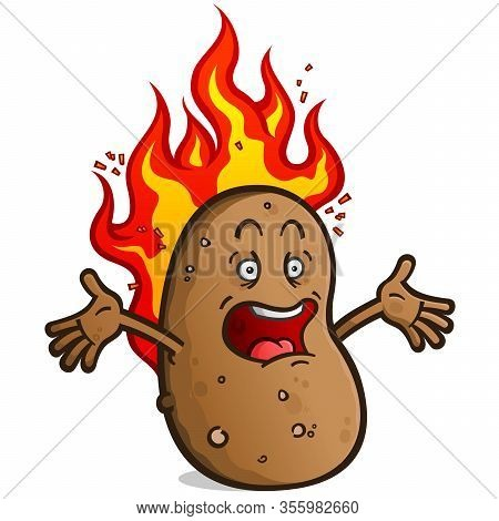 A Hot Potato Cartoon Character Screaming While Burning With Hot Fire