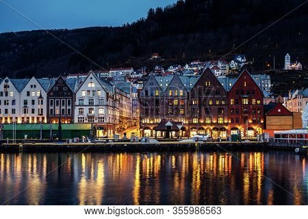 View of Bergen at night, Norway