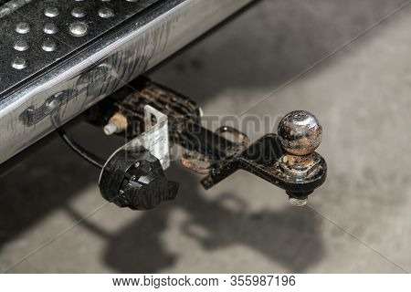 Black  Rusty Car  Tow Hitch.view Of The Vehicle Hitch Closeup
