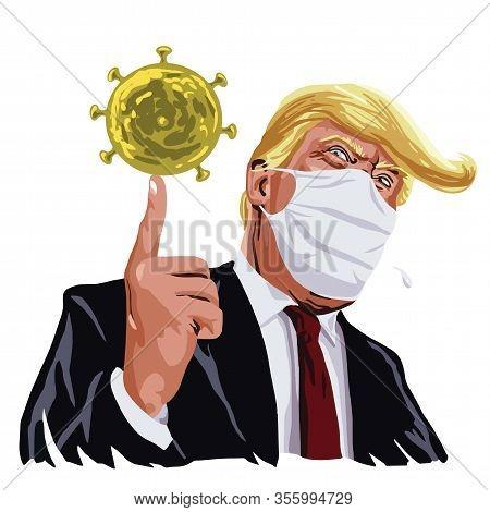 Donald Trump Wearing Mask Anti Corona Virus Covid 19 On Face Cartoon Vector Illustration Drawing. Ma