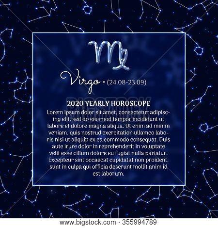 Virgo Astrology Horoscope Prediction For 2020 Year. Luminous Zodiac Signs On Blue Background. Virgo
