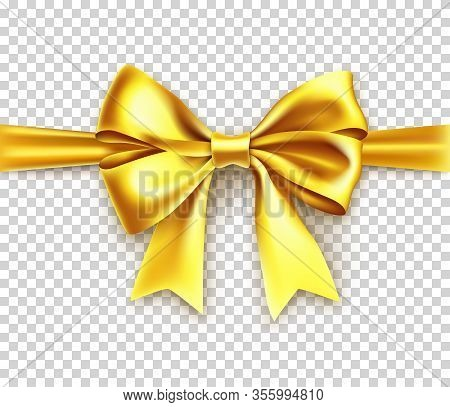 Golden Gift Bow From Satin Tape Isolated On Transparent Background. Realistic Decoration For Any Hol