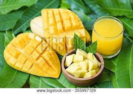 Sweet Ripe Mangos / Mango Juice Glass With Mango Slice On Mango Leaves From Tree Tropical Summer Fru