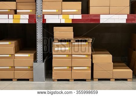 Warehouse loaded with boxes of products