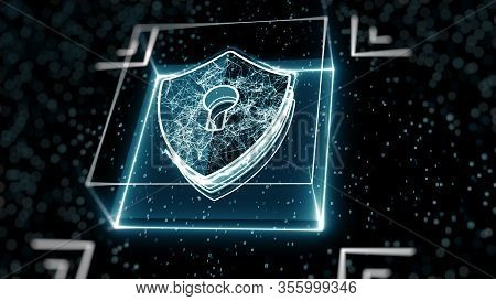 Abstract Cyber Security Concept. Shield With Keyhole Icon On Digital Data Background. Illustrates Cy
