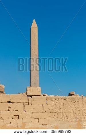 Large Obelisk In Karnak Temple In Luxor, Egypt