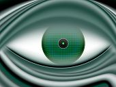 Digital eye extraterrestrial beings in green tones poster