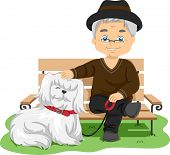 Illustration Featuring an Elderly Man Taking His Dog for a Walk poster