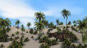 einiosaurus in sandy jungle poster