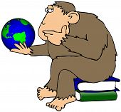 This illustration depicts an ape sitting on books and pondering a small globe of the earth. poster