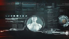 Artificial Intelligence Robot Concept . Futuristic User Interface Data And Information .