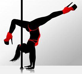 Romantic Dancing Flexible Girl. Vector Silhouette Illustration.