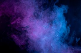 Toxic Movement Of Color Purple And Blue Smoke Abstract On Black Background, Fire Design