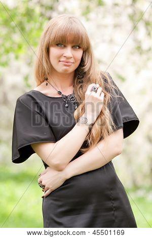 The girl irons hair