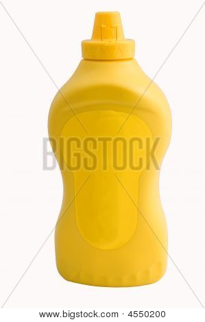 Yellow mustard bottle isolated on white with clipping path poster