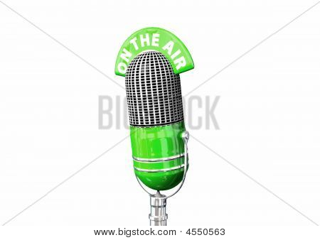"A green retro antique broadcats style microphone with an ""On The Air"" topper with white background. poster"
