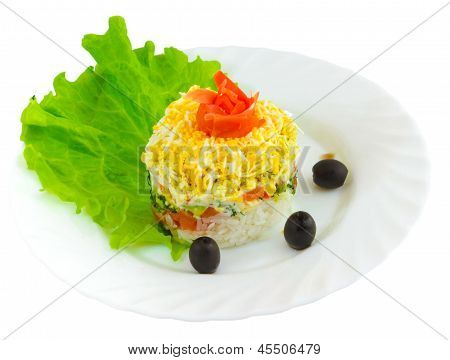 salad tasty rice olives food dish isolated white background clipping path poster