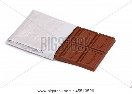 Bar of chocolate on a white background