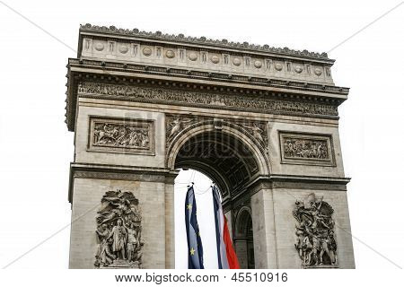 Isolated On White Triumphal Arch In Paris