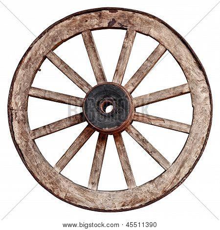 Old Wooden Wagon Wheel On White Background