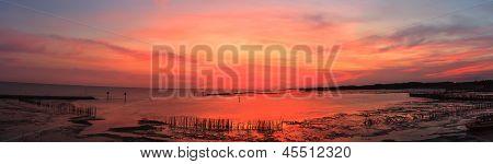 Beautiful Panorama Of Sunset In The Sea