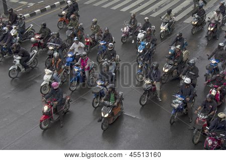 Bangkok, Thailand Oct 11Th: Motorcyclists Wait At Traffic Lights On Ratchadamri On October 11Th 2012