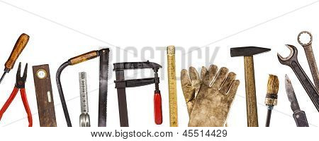 Old craftsman tools isolated on white