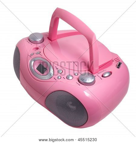 mp3 pink stereo cd radio cassette recorder isolated on a white b